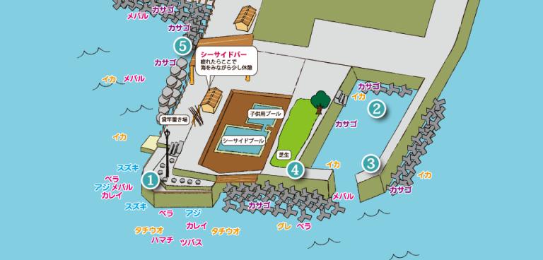 淡路島観光ホテル釣り場MAP